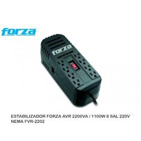 ESTABILIZADOR FORZA AVR 2200VA / 1100W 8 SAL 220V NEMA FVR-2202