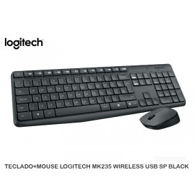 TECLADO+MOUSE LOGITECH MK235 WIRELESS USB SP BLACK