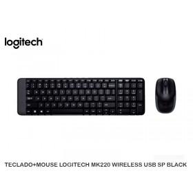 TECLADO+MOUSE LOGITECH MK220 WIRELESS USB SP BLACK