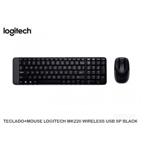 TECLADO+MOUSE LOGITECH MK220 WIRELESS USB SP BLACK