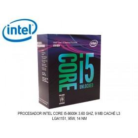 PROCESADOR INTEL CORE I5-8600K 3.60 GHZ, 9 MB CACHÉ L3, LGA1151, 95W, 14 NM