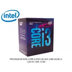PROCESADOR INTEL CORE I3-8100 3.60 GHZ, 6 MB CACHÉ L3, LGA1151, 65W, 14 NM