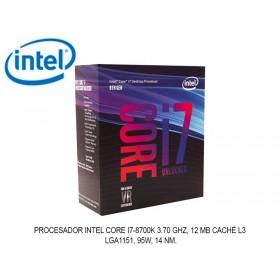 PROCESADOR INTEL CORE I7-8700K 3.70 GHZ, 12 MB CACHÉ L3, LGA1151, 95W, 14 NM.