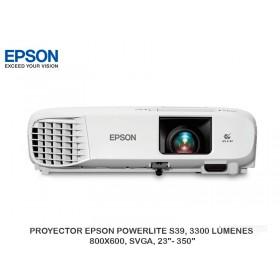 "PROYECTOR EPSON POWERLITE S39, 3300 LÚMENES, 800X600, SVGA, 23""- 350"""