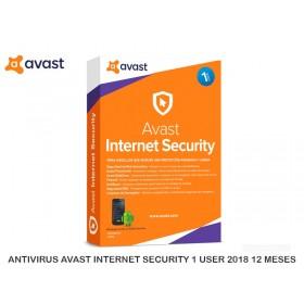ANTIVIRUS AVAST INTERNET SECURITY 1 USER 2018 12 MESES