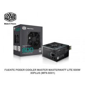 FUENTE PODER COOLER MASTER MASTERWATT LITE 600W 80PLUS (MPX-6001)