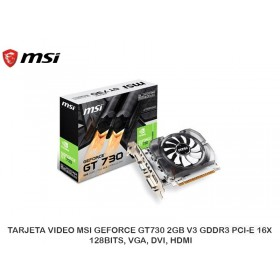 TARJETA VIDEO MSI GEFORCE GT730 2GB V3 GDDR3 PCI-E 16X 128BITS, VGA, DVI, HDMI