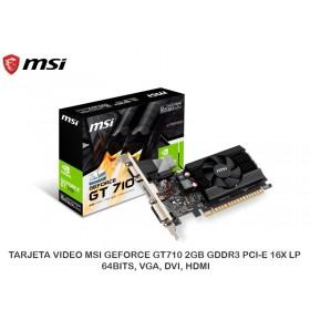 TARJETA VIDEO MSI GEFORCE GT710 2GB GDDR3 PCI-E 16X LP, 64BITS, VGA, DVI, HDMI