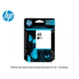 TINTA HP 800/750C/1600C BLACK N° 45   51645AL