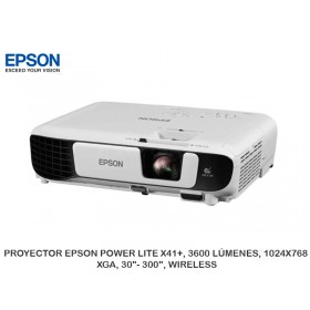 """PROYECTOR EPSON POWER LITE X41+, 3600 LÚMENES, 1024X768, XGA, 30""""- 300"""", WIRELESS"""