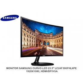 "MONITOR SAMSUNG CURVO LED 23.5"" LC24F390FHLXPE 1920X1080, HDMI/DP/VGA"