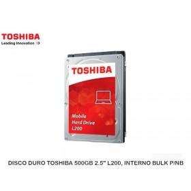 "DISCO DURO TOSHIBA 500GB 2.5"" L200, INTERNO BULK P/NB"