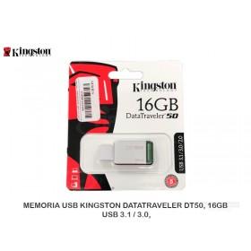 MEMORIA USB KINGSTON DATATRAVELER DT50, 16GB, USB 3.1 / 3.0,