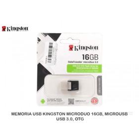 MEMORIA USB KINGSTON MICRODUO 16GB, MICROUSB / USB 3.0, OTG