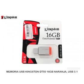 MEMORIA USB KINGSTON DT50 16GB NARANJA, USB 3.1
