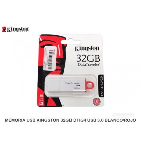 MEMORIA USB KINGSTON 32GB DTIG4 USB 3.0 BLANCO/ROJO