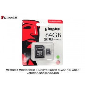MEMORIA MICROSDHC KINGSTON 64GB CLASS 10+ ADAP 45MB/SG SDC10G2/64GB
