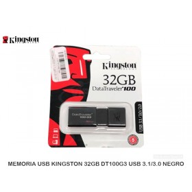 MEMORIA USB KINGSTON 32GB DT100G3 USB 3.1/3.0 NEGRO