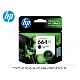 TINTA HP N° 664XL 480 PAG NEGRO F6V31AL