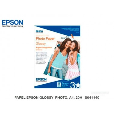 PAPEL EPSON GLOSSY  PHOTO, A4, 20H   S041140