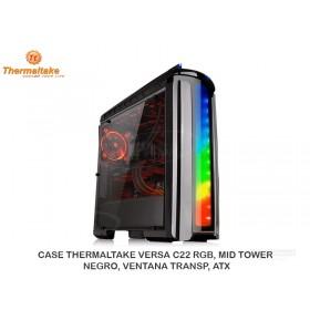 CASE THERMALTAKE VERSA C22 RGB, MID TOWER, NEGRO, VENTANA TRANSP, ATX