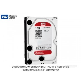 "DISCO DURO WESTERN DIGITAL 1TB RED 64MB SATA III 6GB/S 3.5"" WD10EFRX"
