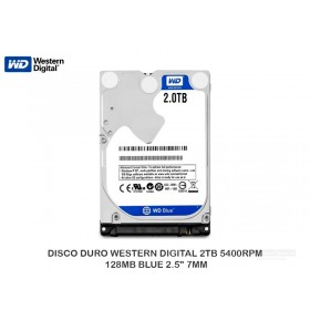 "DISCO DURO WESTERN DIGITAL 2TB 5400RPM 128MB BLUE 2.5"" 7MM"