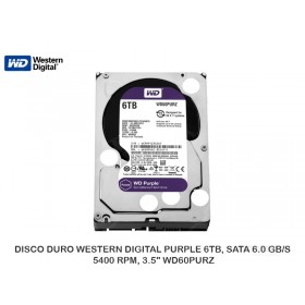 "DISCO DURO WESTERN DIGITAL PURPLE 6TB, SATA 6.0 GB/S, 5400 RPM, 3.5"" WD60PURZ"
