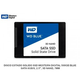 "DISCO ESTADO SOLIDO SSD WESTERN DIGITAL 500GB BLUE, SATA 6GB/S, 2.5"", 3D NAND, 7MM"
