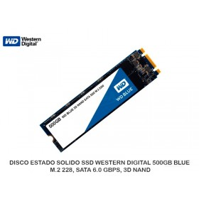 DISCO ESTADO SOLIDO SSD WESTERN DIGITAL 500GB BLUE, M.2 228, SATA 6.0 GBPS, 3D NAND