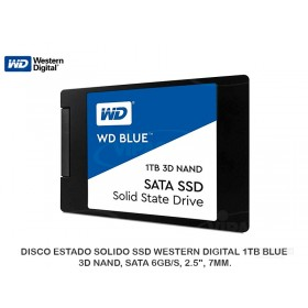"DISCO ESTADO SOLIDO SSD WESTERN DIGITAL 1TB BLUE, 3D NAND, SATA 6GB/S, 2.5"", 7MM."
