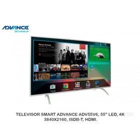 "TELEVISOR SMART ADVANCE ADV55V6, 55"" LED, 4K, 3840X2160, ISDB-T, HDMI."